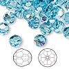 Bead, Swarovski crystal, Crystal Passions®, aquamarine AB, 8mm faceted round (5000). Sold per pkg of 144 (1 gross).