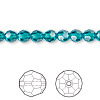 Bead, Swarovski crystal, Crystal Passions®, blue zircon, 6mm faceted round (5000). Sold per pkg of 12.