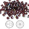 Bead, Swarovski crystal, Crystal Passions®, burgundy AB, 4mm faceted round (5000). Sold per pkg of 144 (1 gross).