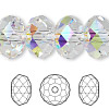 Bead, Swarovski crystal, Crystal Passions®, crystal AB, 18x12mm faceted rondelle with 3.5mm hole (5041). Sold per pkg of 6.