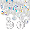 Bead, Swarovski crystal, Crystal Passions®, crystal AB, 6mm faceted round (5000). Sold per pkg of 144 (1 gross).