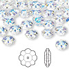 Bead, Swarovski crystal, Crystal Passions®, crystal AB, 8x3mm faceted marguerite lochrose flower (3700). Sold per pkg of 12.