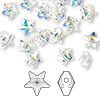 Bead, Swarovski crystal, Crystal Passions®, crystal AB, 8x8mm faceted star (5714). Sold per pkg of 8.