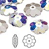 Bead, Swarovski crystal, Crystal Passions®, crystal AB, foil back, 10x3.5mm faceted marguerite lochrose flower (3700). Sold per pkg of 12.