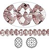 Bead, Swarovski crystal, Crystal Passions®, crystal antique pink, 6x4mm faceted rondelle (5040). Sold per pkg of 144 (1 gross).