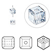 Bead, Swarovski crystal, Crystal Passions®, crystal blue shade, 4x4mm faceted cube (5601). Sold per pkg of 12.