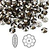 Bead, Swarovski crystal, Crystal Passions®, crystal bronze shade, foil back, 6x2mm faceted marguerite lochrose flower (3700). Sold per pkg of 144 (1 gross).