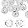 Bead, Swarovski crystal, Crystal Passions®, crystal clear, 10mm faceted round (5000). Sold per pkg of 24.