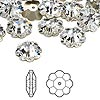 Bead, Swarovski crystal, Crystal Passions®, crystal clear, foil back, 12x4mm faceted marguerite lochrose flower (3700). Sold per pkg of 12.