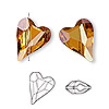 Bead, Swarovski crystal, Crystal Passions®, crystal copper, 17x13mm diagonally drilled left- and right-facing faceted wild heart (5743). Sold per pkg of 2.