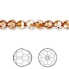 Bead, Swarovski crystal, Crystal Passions®, crystal copper, 6mm faceted round (5000). Sold per pkg of 12.