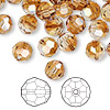 Bead, Swarovski crystal, Crystal Passions®, crystal copper, 8mm faceted round (5000). Sold per pkg of 144 (1 gross).
