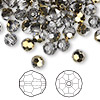 Bead, Swarovski crystal, Crystal Passions®, crystal dorado, 6mm faceted round (5000). Sold per pkg of 144 (1 gross).