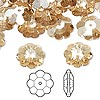 Bead, Swarovski crystal, Crystal Passions®, crystal golden shadow, 12x4mm faceted marguerite lochrose flower (3700). Sold per pkg of 144 (1 gross).