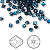 Bead, Swarovski crystal, Crystal Passions®, crystal metallic blue 2X, 4mm Xilion bicone (5328). Sold per pkg of 144 (1 gross).