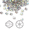 Bead, Swarovski crystal, Crystal Passions®, crystal satin AB, 4mm Xilion bicone (5328). Sold per pkg of 48.