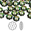 Bead, Swarovski crystal, Crystal Passions®, crystal vitrail medium, 10x3.5mm faceted marguerite lochrose flower (3700). Sold per pkg of 12.