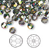 Bead, Swarovski crystal, Crystal Passions®, crystal vitrail medium, 6mm faceted round (5000). Sold per pkg of 144 (1 gross).