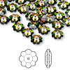 Bead, Swarovski crystal, Crystal Passions®, crystal vitrail medium, 8x3mm faceted marguerite lochrose flower (3700). Sold per pkg of 144 (1 gross).