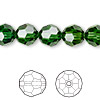 Bead, Swarovski crystal, Crystal Passions®, dark moss green, 10mm faceted round (5000). Sold per pkg of 24.