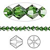 Bead, Swarovski crystal, Crystal Passions®, dark moss green, 4mm Xilion bicone (5328). Sold per pkg of 48.