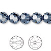 Bead, Swarovski crystal, Crystal Passions®, denim blue, 10mm faceted round (5000). Sold per pkg of 24.