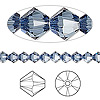 Bead, Swarovski crystal, Crystal Passions®, denim blue, 5mm Xilion bicone (5328). Sold per pkg of 144 (1 gross).