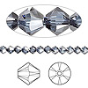 Bead, Swarovski crystal, Crystal Passions®, denim blue satin, 4mm Xilion bicone (5328). Sold per pkg of 48.