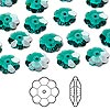 Bead, Swarovski crystal, Crystal Passions®, emerald, 10x3.5mm faceted marguerite lochrose flower (3700). Sold per pkg of 144 (1 gross).