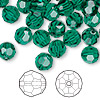 Bead, Swarovski crystal, Crystal Passions®, emerald, 8mm faceted round (5000). Sold per pkg of 144 (1 gross).