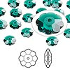 Bead, Swarovski crystal, Crystal Passions®, emerald, 8x3mm faceted marguerite lochrose flower (3700). Sold per pkg of 12.
