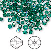 Bead, Swarovski crystal, Crystal Passions®, emerald AB, 4mm Xilion bicone (5328). Sold per pkg of 144 (1 gross).