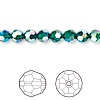 Bead, Swarovski crystal, Crystal Passions®, emerald AB2X, 6mm faceted round (5000). Sold per pkg of 12.