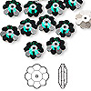 Bead, Swarovski crystal, Crystal Passions®, emerald, foil back, 10x3.5mm faceted marguerite lochrose flower (3700). Sold per pkg of 12.