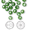 Bead, Swarovski crystal, Crystal Passions®, fern green, 6mm faceted round (5000). Sold per pkg of 144 (1 gross).
