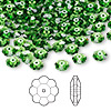 Bead, Swarovski crystal, Crystal Passions®, fern green, 6x2mm faceted marguerite lochrose flower (3700). Sold per pkg of 12.