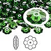 Bead, Swarovski crystal, Crystal Passions®, fern green, 8x3mm faceted marguerite lochrose flower (3700). Sold per pkg of 144 (1 gross).