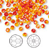 Bead, Swarovski crystal, Crystal Passions®, fireopal, 4mm faceted round (5000). Sold per pkg of 144 (1 gross).