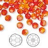 Bead, Swarovski crystal, Crystal Passions®, fireopal, 6mm faceted round (5000). Sold per pkg of 144 (1 gross).