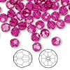 Bead, Swarovski crystal, Crystal Passions®, fuchsia, 6mm faceted round (5000). Sold per pkg of 144 (1 gross).