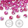 Bead, Swarovski crystal, Crystal Passions®, fuchsia AB, 6mm faceted round (5000). Sold per pkg of 144 (1 gross).