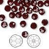 Bead, Swarovski crystal, Crystal Passions®, garnet, 6mm faceted round (5000). Sold per pkg of 144 (1 gross).