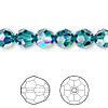 Bead, Swarovski crystal, Crystal Passions®, indicolite AB, 8mm faceted round (5000). Sold per pkg of 12.