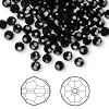 Bead, Swarovski crystal, Crystal Passions®, jet, 4mm faceted round (5000). Sold per pkg of 144 (1 gross).