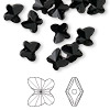 Bead, Swarovski crystal, Crystal Passions®, jet, 8x7mm faceted butterfly (5754). Sold per pkg of 12.