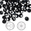 Bead, Swarovski crystal, Crystal Passions®, jet hematite, 6mm faceted round (5000). Sold per pkg of 144 (1 gross).