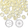 Bead, Swarovski crystal, Crystal Passions®, jonquil, 6mm faceted round (5000). Sold per pkg of 144 (1 gross).