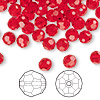 Bead, Swarovski crystal, Crystal Passions®, light Siam, 6mm faceted round (5000). Sold per pkg of 144 (1 gross).