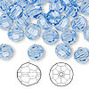 Bead, Swarovski crystal, Crystal Passions®, light sapphire, 8mm faceted round (5000). Sold per pkg of 144 (1 gross).