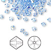 Bead, Swarovski crystal, Crystal Passions®, light sapphire AB, 4mm Xilion bicone (5328). Sold per pkg of 144 (1 gross).